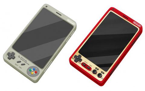 ファミコンとスーパーファミコンを模したスマートフォンの画像