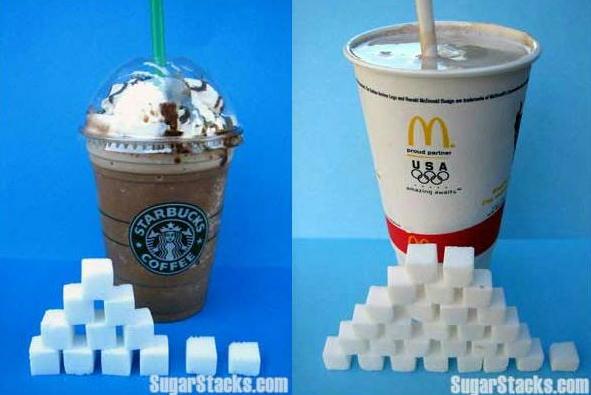 スターバックスコーヒーとマクドナルドドリンクの砂糖の量を比べた写真